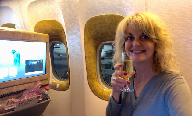 Champagne in Emirates Business Class seats