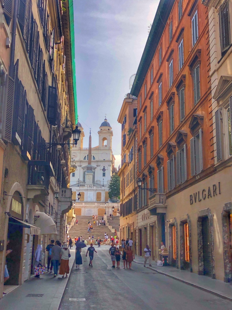 The laneway in Rome looking through to the Spanish Steps