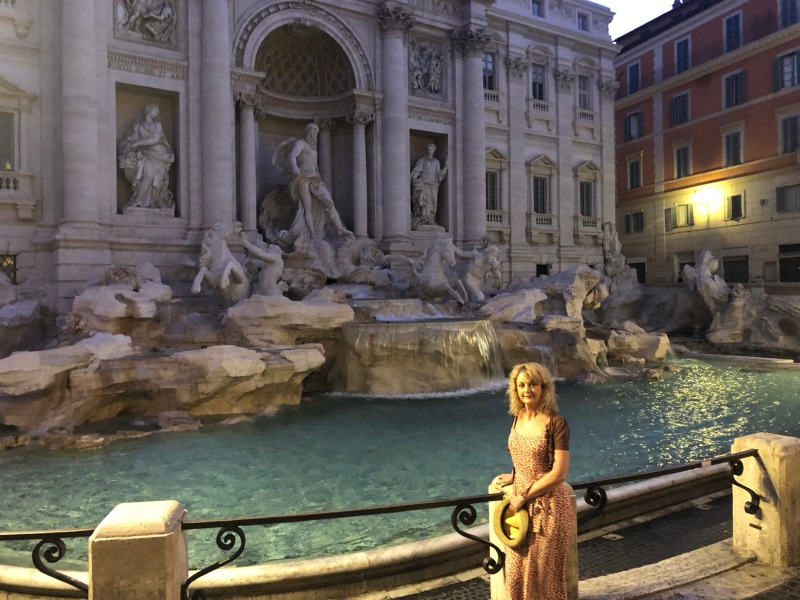 Me in front of the Trevi Fountain in Rome at 5.30am